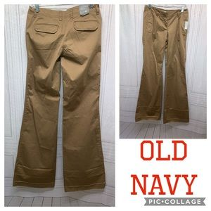 Old Navy Khaki Low Rise Flare Bottoms Stretch